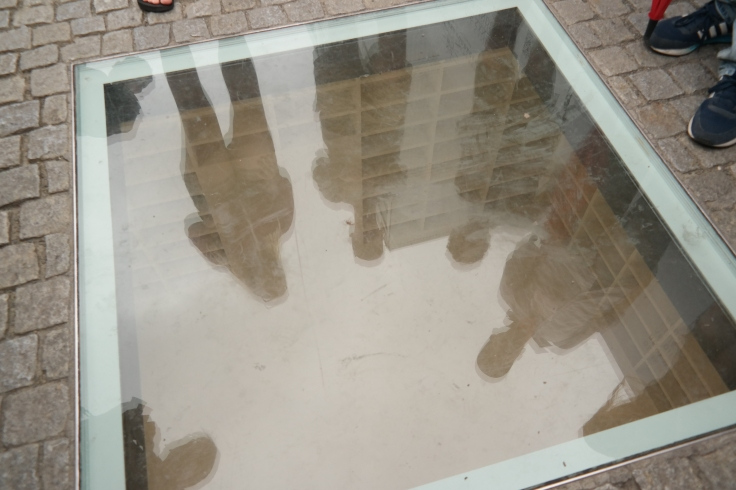 A clever memorial to the books burned by the Nazis - the empty library.