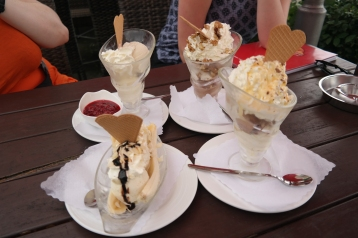 Tasty ice cream sundaes