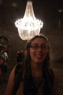 Becky and the salt chandelier