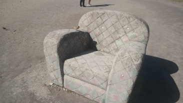 A stone armchair