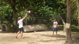 Chris playing volleyball
