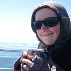 Eva and coffee on the boat