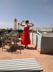 Posing on the terrace